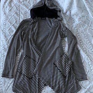 Black & White Striped Hoodie Pocket Cardigan